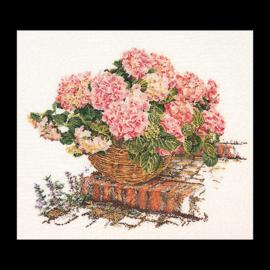 Mandje Hortensia's Roze evenwave telpakket Thea Gouverneur