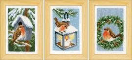 Roodborstjes in de Winter Miniatuur set Vervaco Telpakket