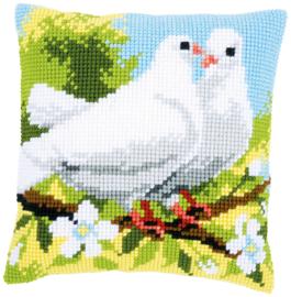 Witte duiven Voorbedrukt kruissteekkussen - Vervaco