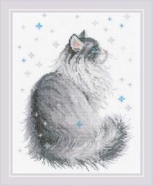 Snowy Meow Aida Borduurpakket Riolis