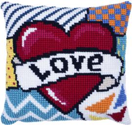 Patchwork Love Voorbedrukt kruissteekkussen - Needle Art