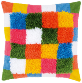 Bright Squares Latch Hook/Chain Stitch Cushion Vervaco
