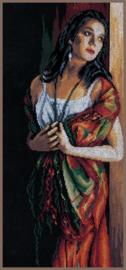 Dame Turend door het raam Aida Borduurpakket Lanarte