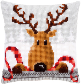 Reindeer with a Red Scarf Canvas Cushion Vervaco