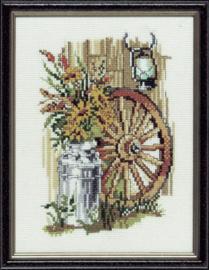 Borduurpakket karrenwiel met zonnebloemen Pako
