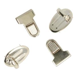 Tassluiting ribbel 2.5x1.8cm - Zilver