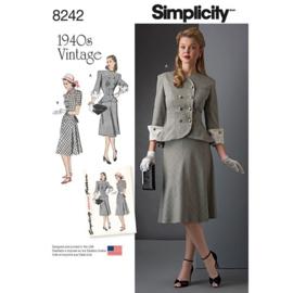 8242 AA Vintage 1940s 2 Delige Jurk (Rok en Blazer) Simplicity 36-44