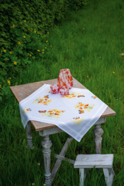 Oranje Bloemen en Vlinder Voorbedrukt Tafelkleed Vervaco