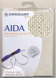 Creme met Gouden Glitter Voorgesneden Aida 14ct - 5.4kr/cm Zweigart 48x53cm