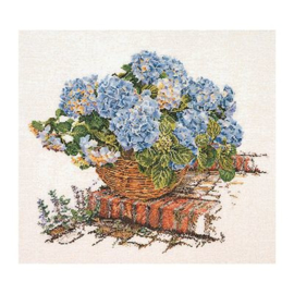 Mandje Blauwe Hortensia's Linnen Thea Gouverneur