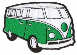 Groene Volkwagen Bus Opstrijkbare Applicatie