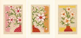 Japans motief met bloemen wenskaarten set van 3 Aida borduurpakket - Vervaco