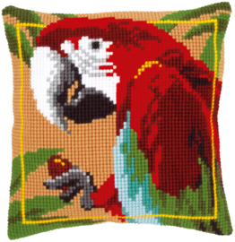 Red Macaw Canvas Cushion Vervaco