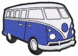Blauwe Volkswagen Bus Opstrijkbare Applicatie