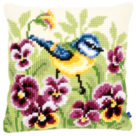 Blue Tit on Pansies Canvas Cushion Vervaco