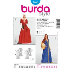 7468 Dress & Bonnet Middle Ages Burda