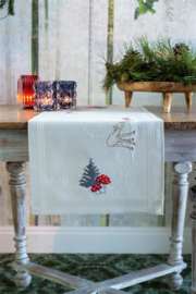 Hertje en konijn in sneeuwlandschap loper Telpakket Vervaco