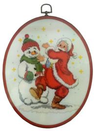 Dansende Kerstman Aida Telpakket met Kunststoflijst Vervaco