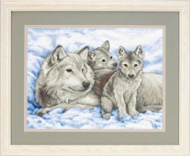 Mother Wolf And Pups Pre Printed Cross Stitch Dimensions