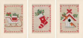 Kerstmotiefjes Wenskaarten Vervaco Borduurpakket