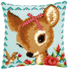 Bambi with a Bow Canvas Cushion Vervaco