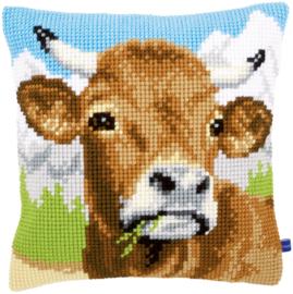 Grazende koe Kruissteek kussen Vervaco
