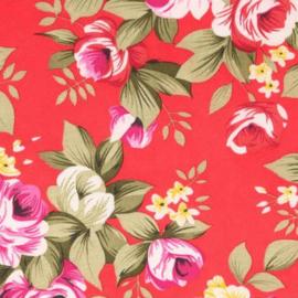 Rode bloemenstof Tissu de Marie 100% polyester