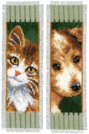 Poes en Hond set van 2 boekenleggers Aida Telpakket Vervac0