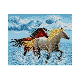 Horses in the Water Pre-Printed Canvas Deco-Line