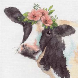 Sweet Cow ( lieve koe) Aida telpakket - Dimensions