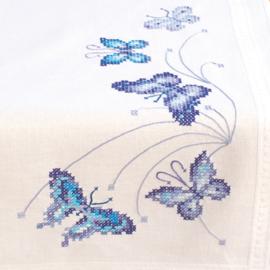 Blauwe vlinders tafelloper voorbedrukt - Vervaco