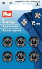 15mm Zwarte Aannaaidrukknopen Prym
