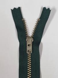 890 Broekrits Donker Groen Fijn Zilver 16cm YKK