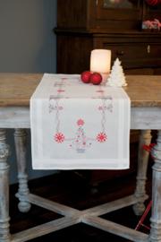Kerstbomen in rood/ grijs Voorbedrukt tafelloper - Vervaco