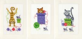 Speelse Katten set van 3 Kaarten Vervaco Telpakket