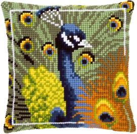 Proud Peacock Canvas Cushion Vervaco