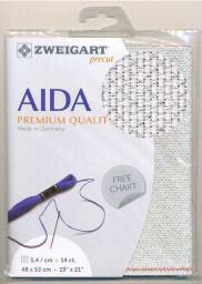 Witte Glitter Aida Zweigart 14ct-5.4kr/cm 48x53cm