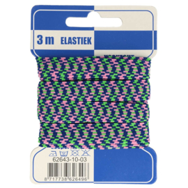 Blauw/ groen/ roze zigzag elastiek 10mm