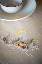 Winterlandschap met ster tafelkleed borduurpakket - Vervaco