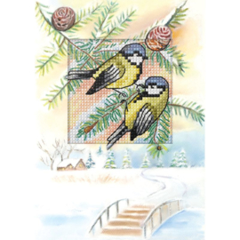 Meesjes in de sneeuw Aida kaartpakket Orchidea