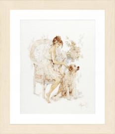 Meisje op stoel met hond Evenwaeve Telpakket lanarte