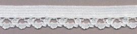 12mm Elastisch Kant Wit met Sierrandje
