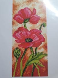 Patroon Knoopkleed Red Flowers