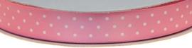 Zacht Roze 15mm Dubbelzijdig Satijnband met Witte Stippen