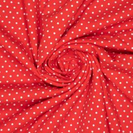 Polkadot Rood Tricot - Ilja Fabrics