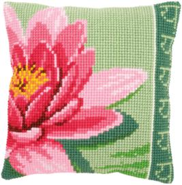 Pink Lotus Flower Canvas Cushion Vervaco
