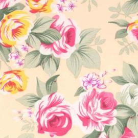 Gele bloemenstof Tissu de Marie 100% polyester