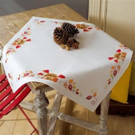 Hedgehog and Mushrooms Aida Tablecloth Vervaco