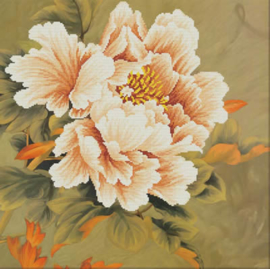 Blooming Peony 1 Voorbedrukt Borduurpakket Needleart World