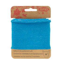 Blauwe Boordstof met Glinsterende Lurex Opry